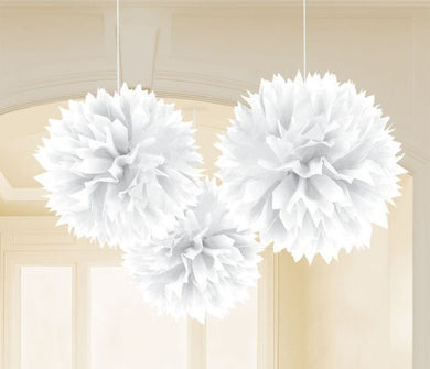 White Tissue Paper Puff Ball 3pk