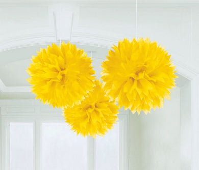 Yellow Tissue Paper Puff Ball 3pk