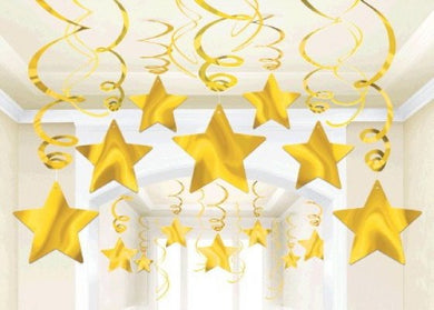 Yellow Star Swirl Decoration 30pk