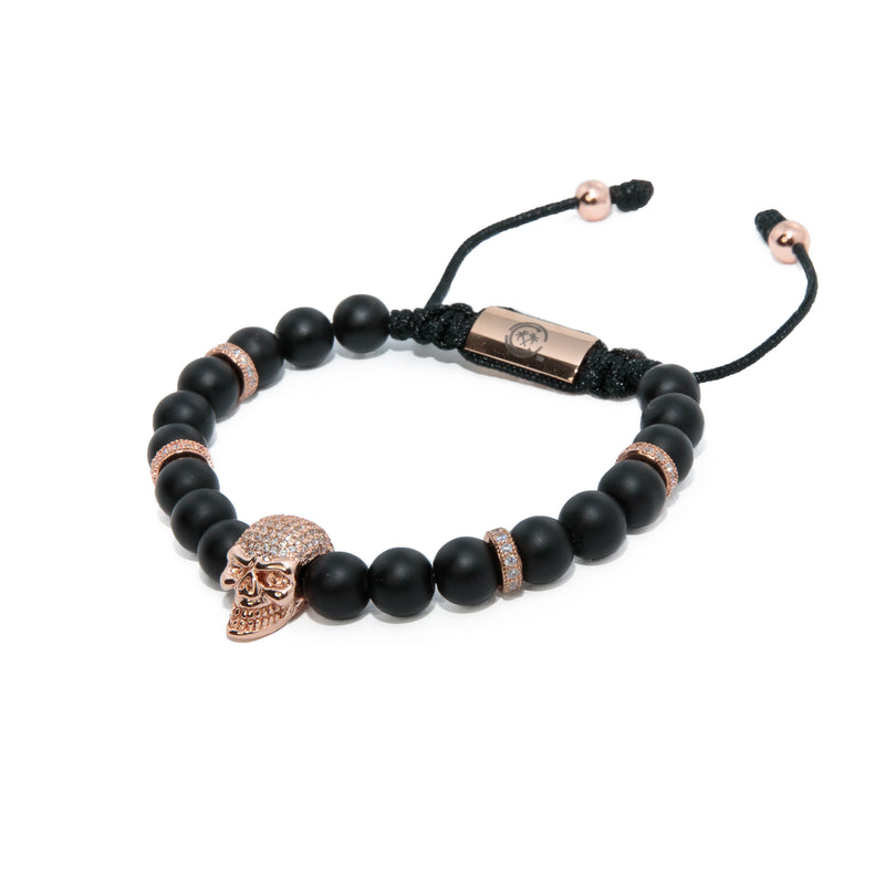 Matte Black X Rose Gold Skull Bracelet
