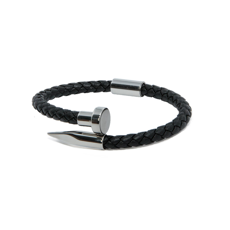 Black Braided Leather X Silver Stake