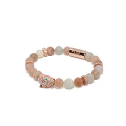 Peach Moonstone X Rose Gold Leopard Bracelet