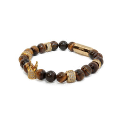 Tiger Eye Gold Crown Bracelet 2.0