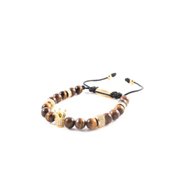 Tiger Eye Gold Crown Bracelet