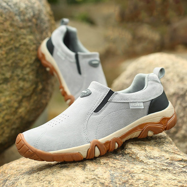 Mens Fashion Outdoor Casual Shoes Non-slip Cushioning Hiking Shoes Comfortable Round Head Lightweight Low-top Sneakers