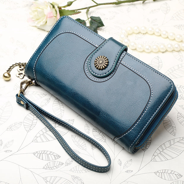 Women's oil wax long section bills folder wallet clutch