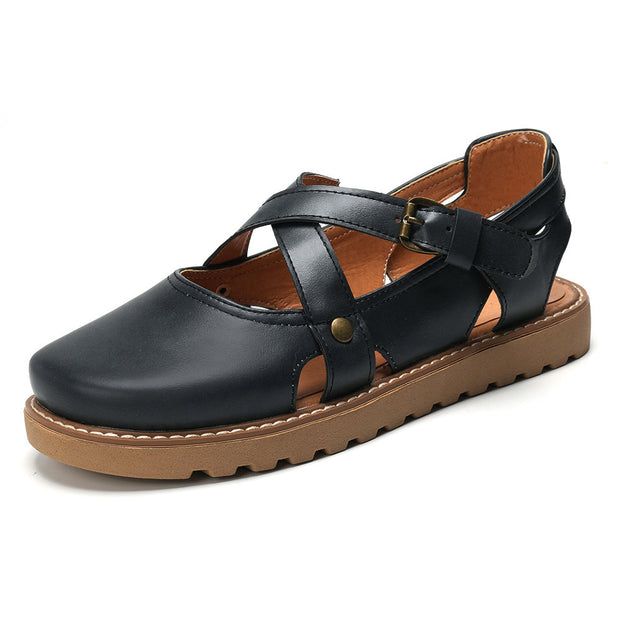 Frauen Plus Size Retro Cross Gürtelschnalle Closed Toe Sandalen
