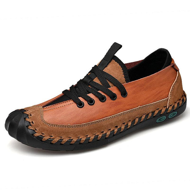 Herren stilvolle Color Blocking Comfy Leder Soft Lace Up Freizeitschuhe
