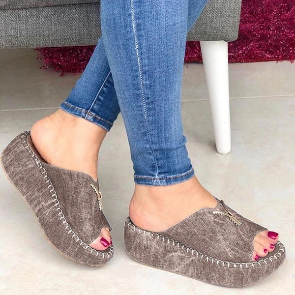 Frauen Casual Sommer Slip On Zipper Wedge Sandalen