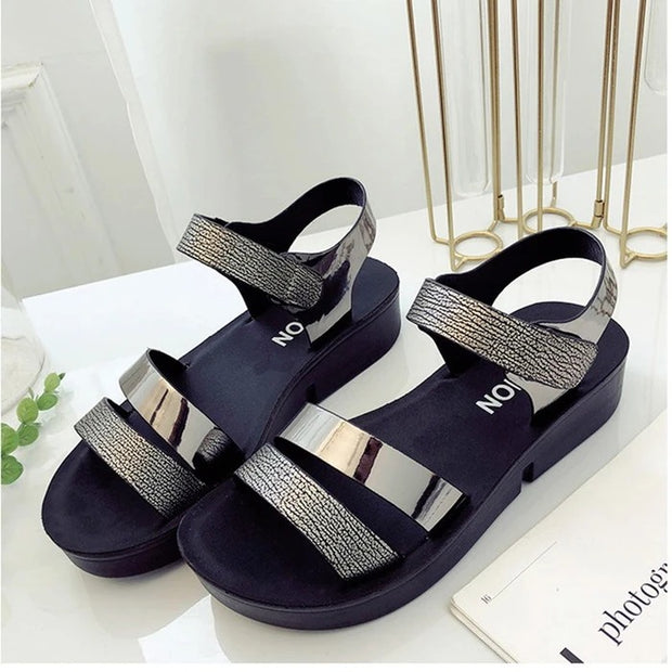 Frauen Magic Tape Platform Pu Open Toe Sandalen