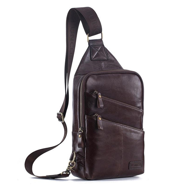 Herren Freizeit Brusttasche echtes Leder High Capacity Messenger Bag