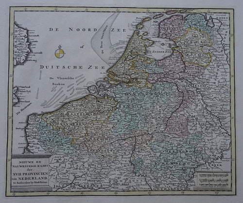 17 provinciën Netherlands Map of the XVII Provinces - I Tirion - 1738