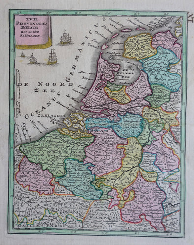 17 provinciën Netherlands Map of the XVII Provinces -  JC Weigel - 1717