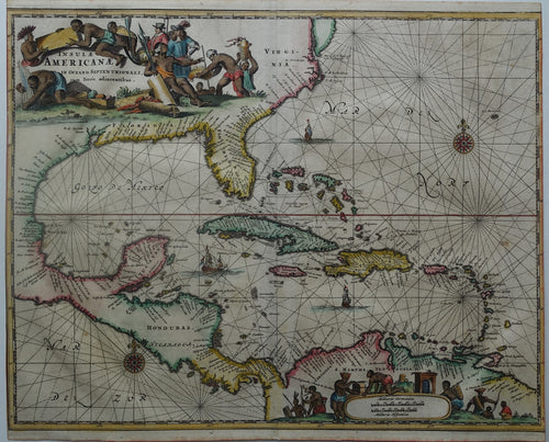 Amerika Midden-Amerika America Caribbean Gulf of Mexico - A Montanus - 1671