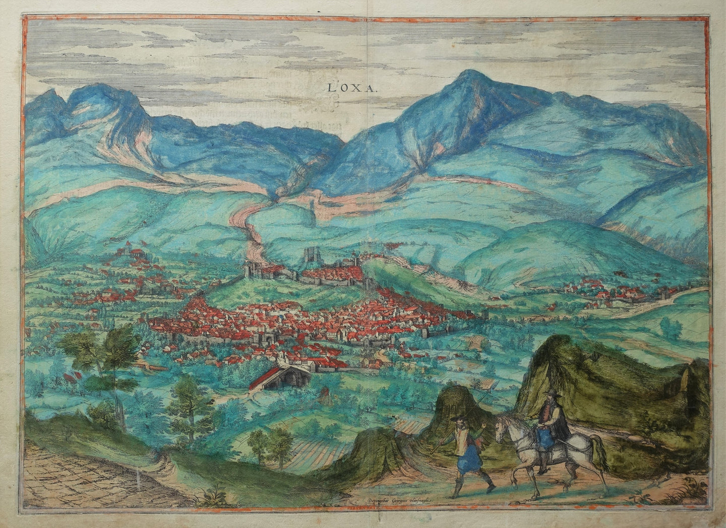 Spanje Loja Spain Birds-eye view - G Braun & F Hogenberg - 1590