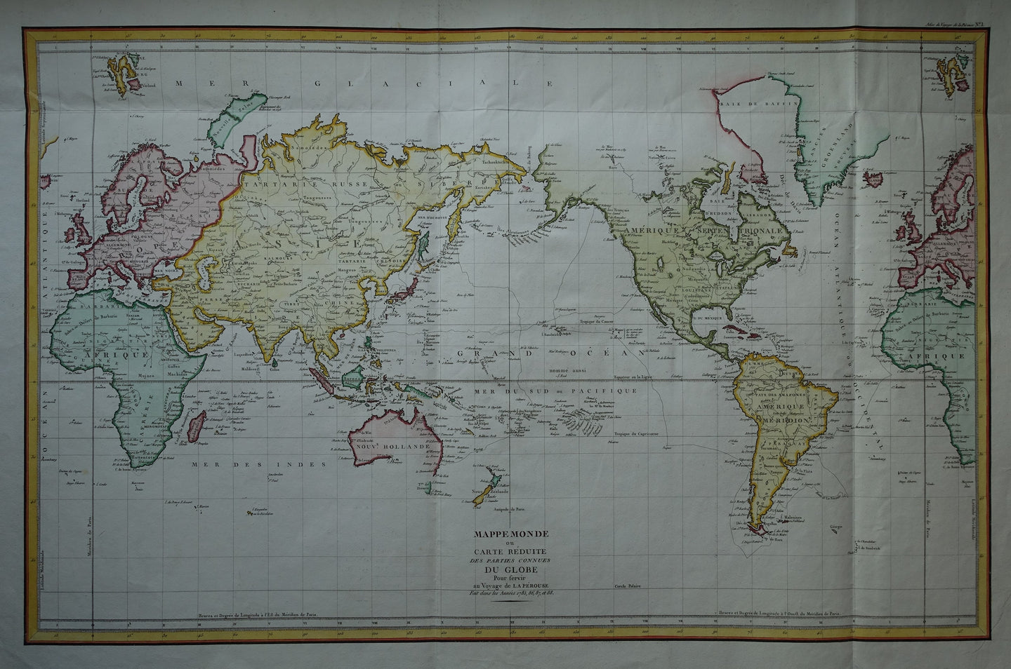 Wereld Pacific centered world map - JF de Galaup, graaf de La Pérouse - 1797