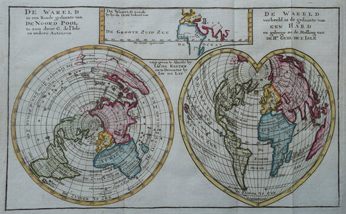 Wereld Hartvormige wereldkaart en Poolprojectie World Heart-Shaped Map - J Keizer / J de Lat - 1747
