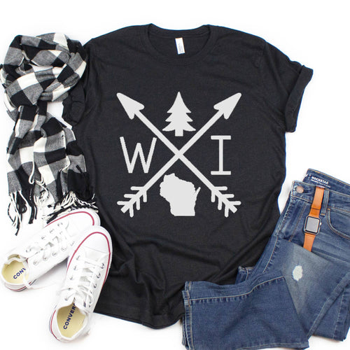 Wisconsin Unisex Tee Shirt - Arrows with Pine Heather Black