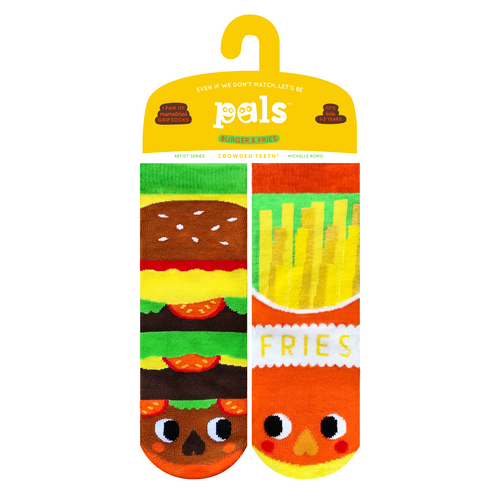 Pals Socks - NEW Burger & Fries Pals Artist Kids Mismatched Food Socks
