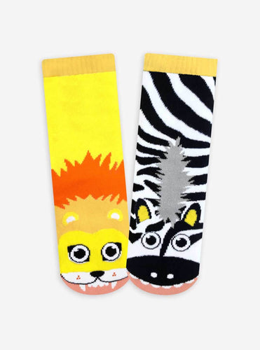 Pals Socks - Lion & Zebra Kids Collectible Mismatched Jungle Animal Socks