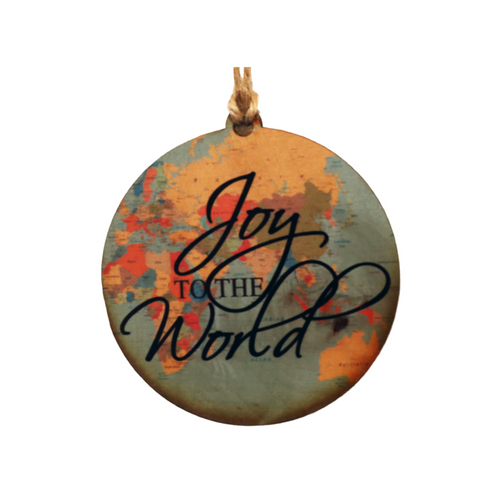 Joy to the World 3.25 inch round maple wooden ornament