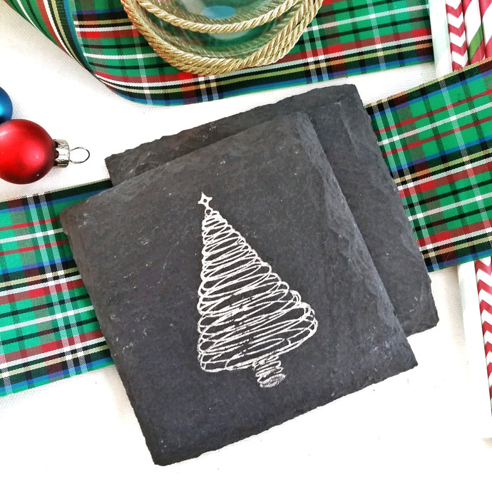 Christmas Tree Slate Coaster
