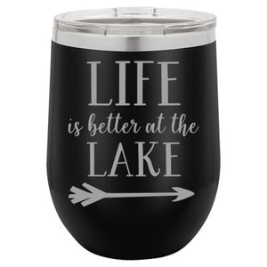 """Lake Life"" Black 12 oz Portable Wine Mug & Drink Glass from Lil Bit Local"