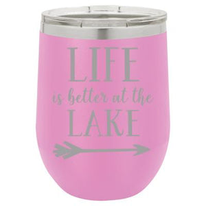 """Lake Life"" Lavender 12 oz Portable Wine Mug & Drink Glass from Lil Bit Local"