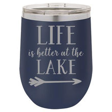 """Lake Life"" Navy 12 oz Portable Wine Mug & Drink Glass from Lil Bit Local"