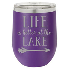 """Lake Life"" Purple 12 oz Portable Wine Mug & Drink Glass from Lil Bit Local"
