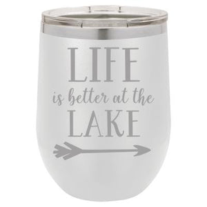 """Lake Life"" White 12 oz Portable Wine Mug & Drink Glass from Lil Bit Local"