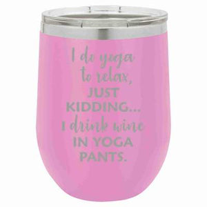 """Yoga Pants"" Lavender 12 oz Portable Wine Mug & Drink Glass from Lil Bit Local"