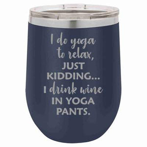 """Yoga Pants"" Navy 12 oz Portable Wine Mug & Drink Glass from Lil Bit Local"