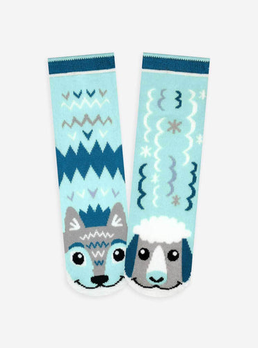 Pals Socks - Wolf & Sheep Pals Artist Series Kids Mismatched Animal Socks