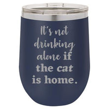 'It's not drinking alone if the cat is home' navy stemless wine mug & drink glass from Lil Bit Local