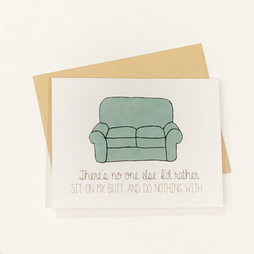 Funny card with a photo of a couch that reads: