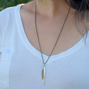 Vintage Fork Tine Feather Necklace