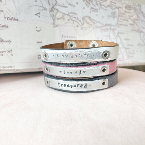 Mama's Stackable Leather Empowerment Bracelets for Women or Girls