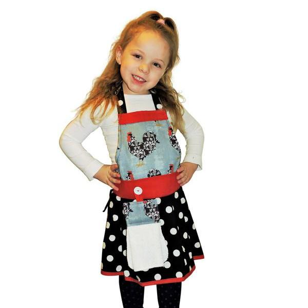 Girls Polka Dot & Rooster Apron