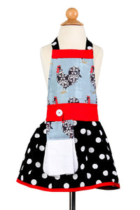 "Girls Polka Dot & Rooster Apron ""Jessica"""