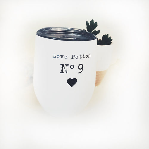 Love Potion No.9 Covered Stemless Wine Glass