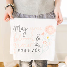 Edelweiss - May you bloom & grow forever - vintage inspired flour sack, with American made cotton flour sack. Designed and printed in Iowa.