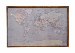 Colored Antique World Map - Magnetic Pin - Travel Map