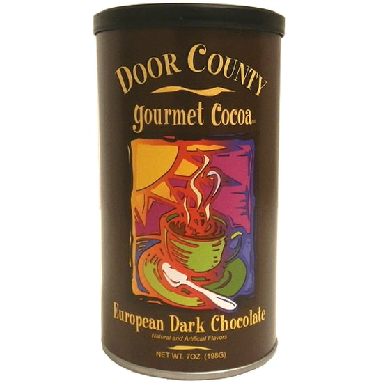 7oz tin of creamy, gourmet old fashioned hot chocolate. Door County European Dark Chocolate hot cocoa mix and water is all you need to warm up on those crisp fall and winter days.