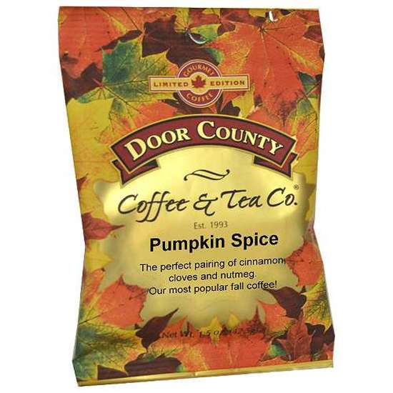 Coffee full-pot bag decorated in autumn leaves, flavored in Cinnamon Spice.  This Medium Roast Coffee will bring together the most popular flavor of fall, with just the right amount of cinnamon, cloves & nutmeg to provide the most popular fall flavor, pumpkin spice.