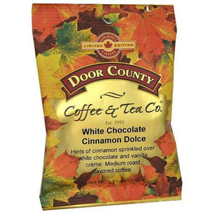 1.5oz Coffee full-pot-bag decorated in autumn leaves, you are able to enjoy 10 cups of this medium roast, low acidity flavored coffee allows you to sip your favorite white chocolate blend, sprinkled with cinnamon and vanilla creme for the perfect fall flavored coffee.  Roasted locally in Door County, Wisconsin.