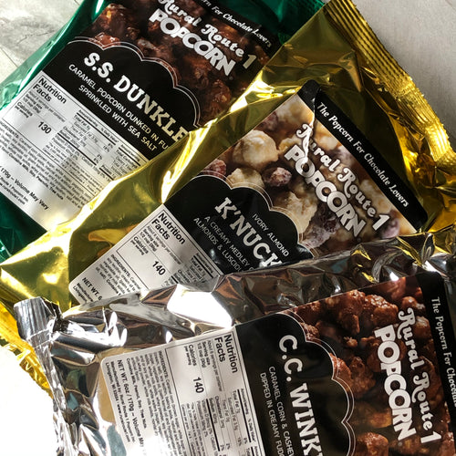 gourmet farm to table popcorn for chocolate lovers, in 6oz bags, make the perfect gift or unique item for the next gift basket you put together