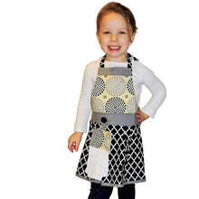 "Girls Modern Apron ""Marilyn"" - Black and White"