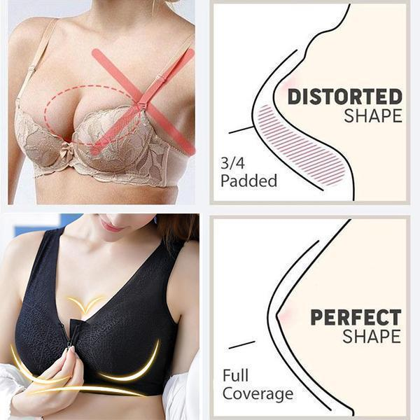 2019 Hot Front Zipper Closure Wirefree Extra Breathable Silk Bra