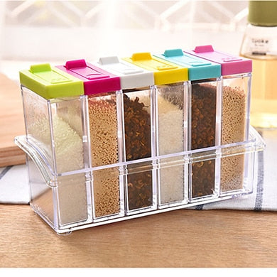 6Pcs/Set Kitchen Spice Storage Bottle